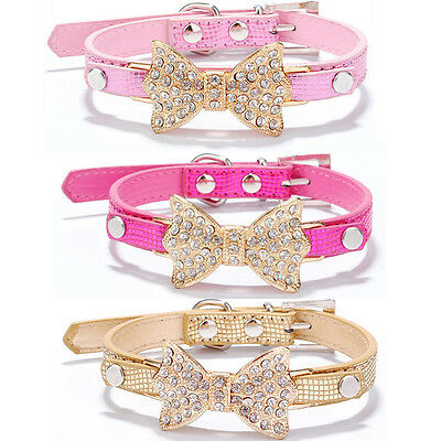 Pet Dog Leather Collar Neck Chain Cat Puppy Crystal Rhinestone Bowknot Necklace