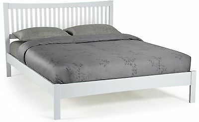 Grey colour solid wood bed frame wooden bedstead.Painted modern woodern.Low foot