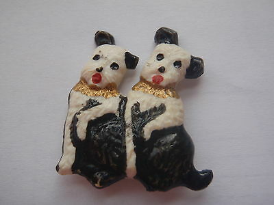 BROOCHE, BADGE - TWO DOGS, Vintage, USSR, Russia  size 35х30 mm. Plastic.