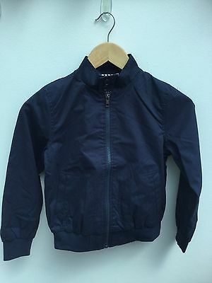 Fab Boys Navy Blue Smart Canvas Zip Up Bomber Jacket Ages 7-14