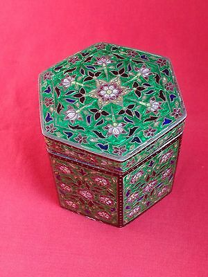 Beautiful Antique Vintage Hexagonal Sterling Silver & Enamel Trinket Pot / Jar