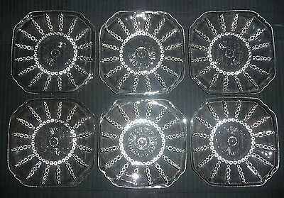 6 Vintage COLUMBIA Clear Federal Glass Bread & Butter Dessert Cake Plates Beaded