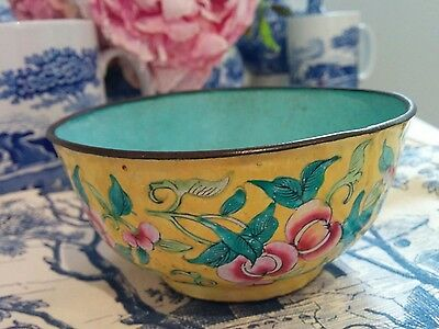 Pretty vintage Chinese yellow cloisonne bowl