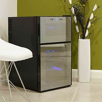 Under Counter Wine Cooler Husky Dual Zone HUS-HUS-HN7, 24 Bottle Capacity Black