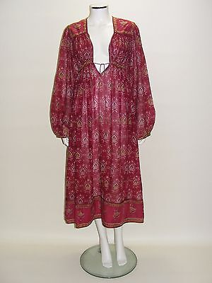Beautiful Vintage Indian Gauze Cotton Dress Boho Hippie Festival 1970s