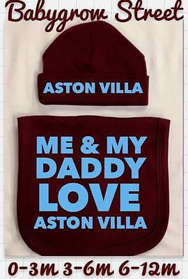 Aston Villa Hat And Bib Set Daddy, Uncle, Grandad. Personalise Your Own Set