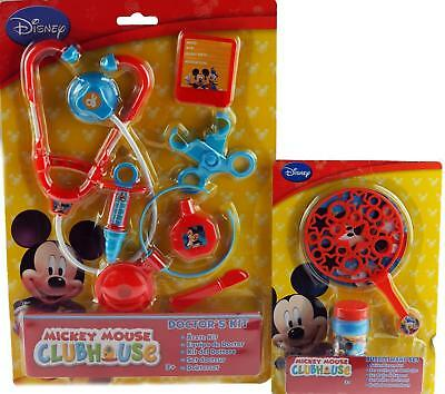 Disney Mickey Mouse 2 Piece Toy Gifts - Bubble Making Wand Kit / Doctor Play Set