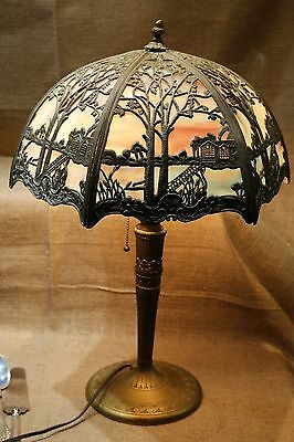 Beautiful Antique Miller & Co Slag Glass 6 Panel Lamp with Original Shade