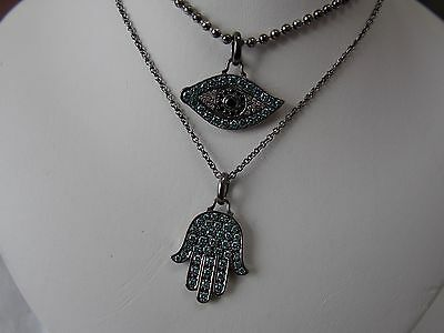 Aspery & Guldag Evil Eye Protection & Hamsa Hand Necklace 18K Two Tone Gold