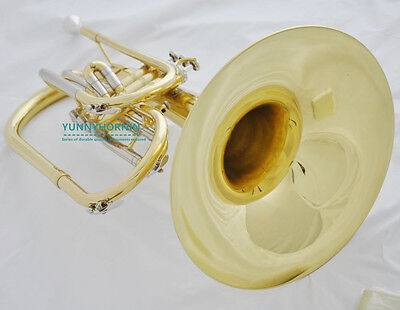 2017 Prof Gold Marching Band Mellophone HORN F Brand New + Case & Mouthpiece