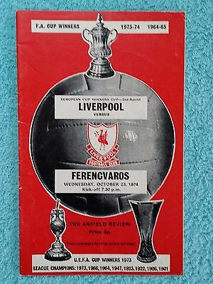1974 - LIVERPOOL v FERENCVAROS PROGRAMME - CUP WINNERS CUP 2ND ROUND