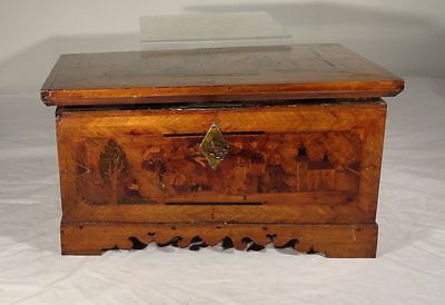 Antique Early Fine Italian or German Inlaid Marquetry Fruitwood Box Coffer