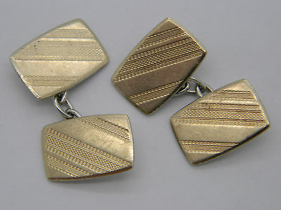 9ct Gold on Solid Silver Cufflinks with Decorated Panels