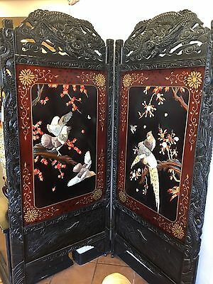 Vintage Circa 1920's Asian Screen with Stone Designs and Ornate Wood Carvings