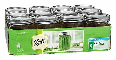 Top Quality Set Of 12 Ball Mason Widemouth Pint Jars With Lids And Bands 16 oz!