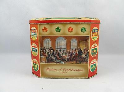 Vintage Gray Dunn Biscuits Tin W/ Sir Wilfrid Laurier & Sir John A. Macdonald