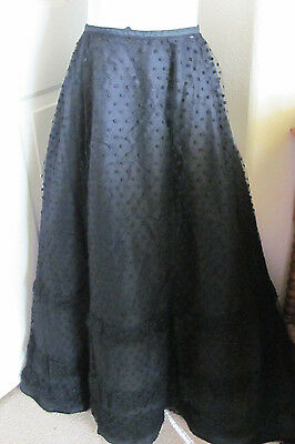 Womens Antique Black Net Lace Skirt Floor Length Original Victorian Era Mourning