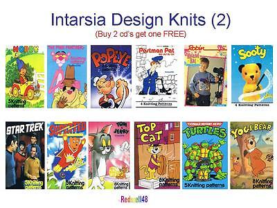 TV CHARACTER INTARSIA KNITTING PATTERNS ON CD Buy2 Get 3rd FREE (D2)