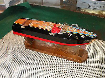 RUNS VINTAGE 50'S ITO JAPAN  BATTERY POWERED TOY BOAT Dual Motor Lights Clean