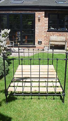 Victorian Small Double Cast Iron and Brass Antique Bed