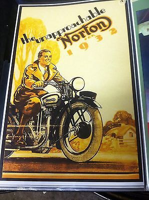 Vintage Unapproachable 1933 Norton Motorcycle Poster Man Cave Garage Art
