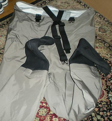 Simms Men's large  Foot Fishing Waders Pants Made In USA Overalls RN #103631