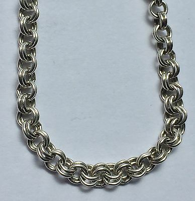 """925 Sterling Silver 18"""" Long Double Link Belcher Necklace  Chain Hallmarked"""
