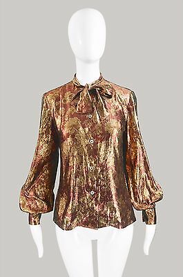 Vintage 80s Red & Gold Lame Silk Blouse Pussybow Blouse Pussycat Bow Shirt