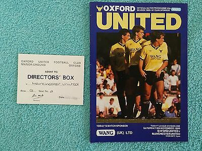 1986 - OXFORD UTD v MANCHESTER UTD PROGRAMME + DIRECTORS BOX MATCH TICKET