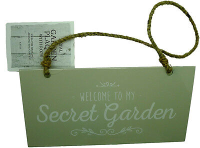 New Welcome to my Secret Garden Metal Sign Plaque Hanging Greenhouse