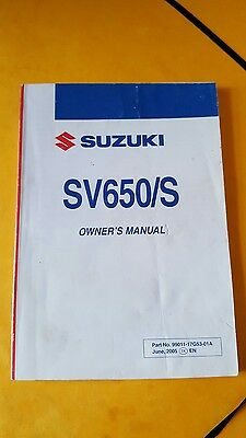 Genuine 2007 K6 Suzuki Sv650 Sv650S Owners Manual