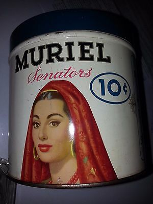 not a reproduction * ANTIQUE MURIEL CIGAR TIN CAN 50 COUNT SENATORS WITH STAMP !