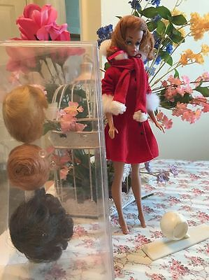 Vintage BARBIE Doll Fashion Queen 1963 with 4 Wigs ,Stand and Case.