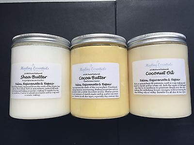 Coconut Oil, Shea & Cocoa Butter 300g Each - Pure Natural Quality Aromatherapy