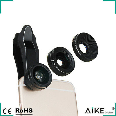 230° Fisheye Lens 0.65X Wide Angle Lens 15X Macro Lens With Clip For Smartphone