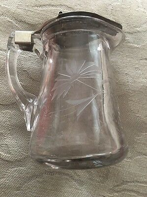 Antique Clear Etched / Engraved Glass Syrup Pitcher With Original Lid
