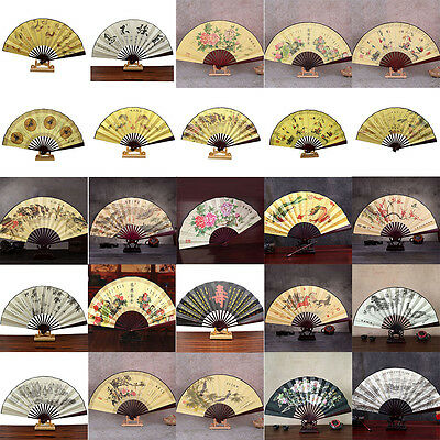 Chinese Japanese Silk Folding Hand Held Pocket Fan Wedding Party Dance Prom Gift