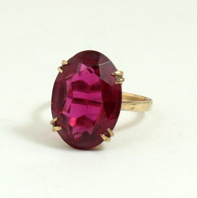 Vintage 9ct Gold Art Deco Ring Large Ruby Red Paste Stone Hallmarked Size O, 7