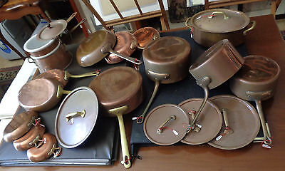 Bazar Francais New York 666 lotto pentole rame vintage copper pots