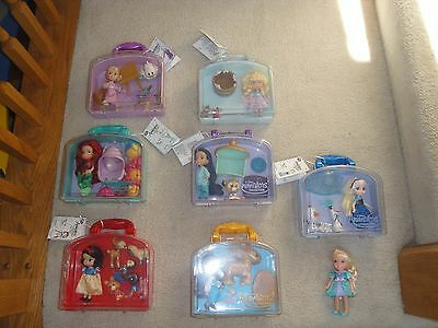 Disney Animator Collection Mini Doll Play Set Carry Case Lot of 7  Used