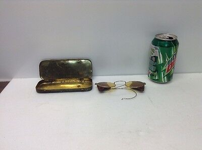 Vintage Willson Safety Goggles Amber Glasses & Metal Case Motorcycle Steampunk