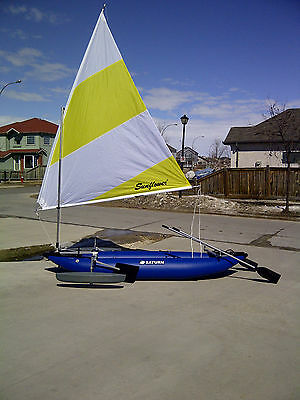 Inflatable Sailing Kayak, Saturn RK375 w/ 55 sf Sail Kit and Bonus Accesories