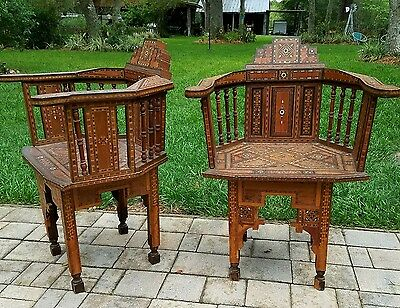 2 Carved Chair Inlaid Mother of Pearl & Bone syrian moraccan exotic teak wood