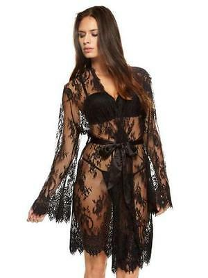 Ann Summers Sascha Black Lace Kimono Dressing Gown Size Large 16 - 18 NWT