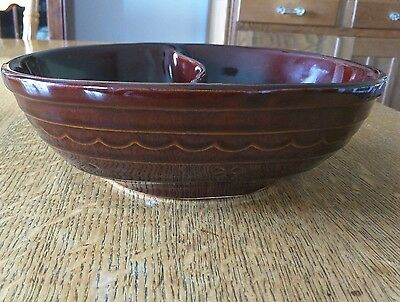 "Vintage MARCREST Ovenproof Stoneware Brown DAISY DOT Divided Bowl 10"" Clean"