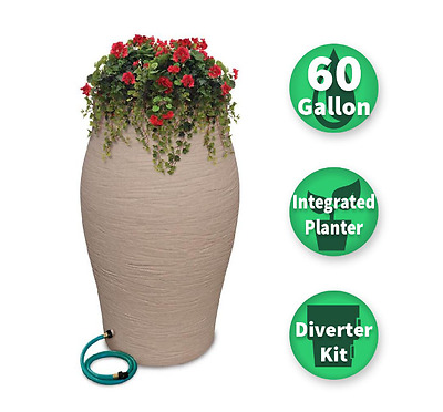 RESCUE 60 Gal Decorative Resin Rain Barrel Kit Planter + Diverter System 2263-1