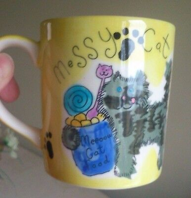 "Whittard Of Chelsea Unused ""Messy-Cat"" Hand-Painted Mug By 'Beth,' Barcode Label"