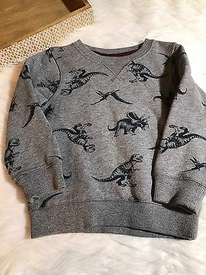 Carters Toddler Boy Gray Dinosaur Print Soft Pull Over Sweater Size 2T Cotton