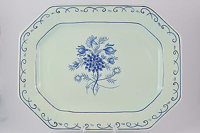 Adams Calyx Ware Blue And White Octagonal Platter Serving Dish Floral Design
