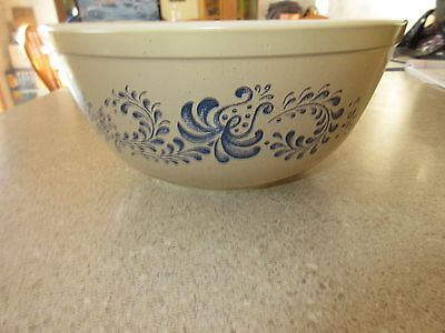 Pyrex Corning Ware Homestead 2.5 Qt #403 Nesting Mixing Bowl Blue Floral On Tan